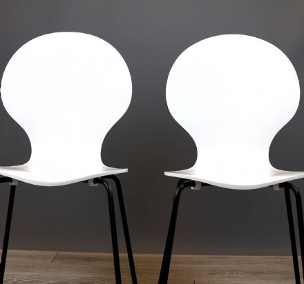 Set of 2 Curve White  Dining Chairs